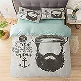 Aishare Store - Juego de funda de edredón de 3 piezas, diseño de capitán sin rostro con sombrero y barba, diseño de marinero con texto 'Illus', color marrón y blanco