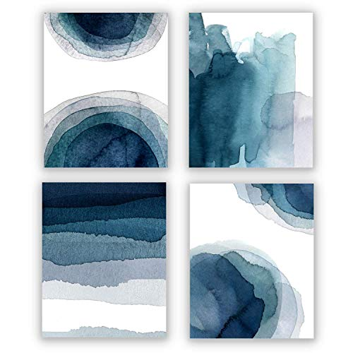 Wall Art Prints 8X10 UNFRAMED Abstract Aqua Blue & Teal Watercolor Paintings for Bedroom Living Room Kitchen Bathroom Home Decor Accents Home Decorations Set of 4