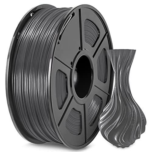 PETG 3D Printer Filament, 1.75mm PETG Filament Grey, Dimensional Accuracy +/- 0.02 mm, Fit FDM 3D Printer, PETG Grey 1 KG Spool