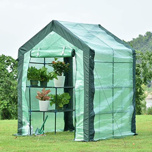 Aoodor Walk-in Greenhouse 6.5 ft. x 4.8ft. x 4.8ft. with 2 Tier 8 Shelves Water Resistant UV Protected – One Large Zipper Door