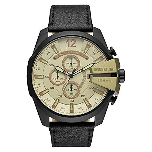 Diesel Herren Analog Quarz Uhr mit Leder Armband DZ4495