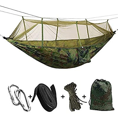 KEPEAK Camping Hammock with Mosquito Net, Single & Double Hammock Bug Net, Lightweight Nylon Portable Hammock for Backpacking, Camping, Travel, Beach, Yard