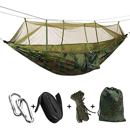 KEPEAK Camping Hammock with Mosquito Net, Single & Double Hammock Bug Net, Lightweight Nylon Portable Hammock for Backpacking, Camping, Travel, Beach, Yard