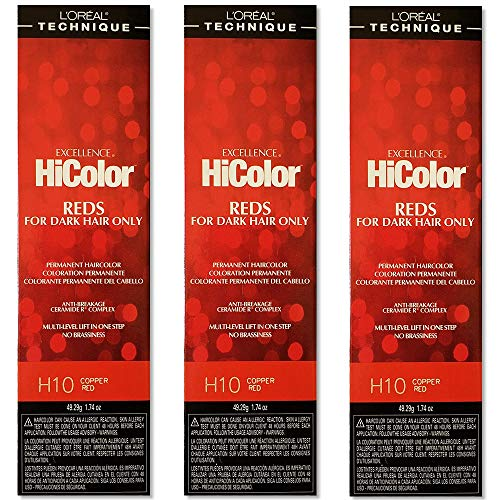 L'Oreal Excellence HiColor H10 Copper Red Permanent Hair Tint HC-05108 (3 Pack)