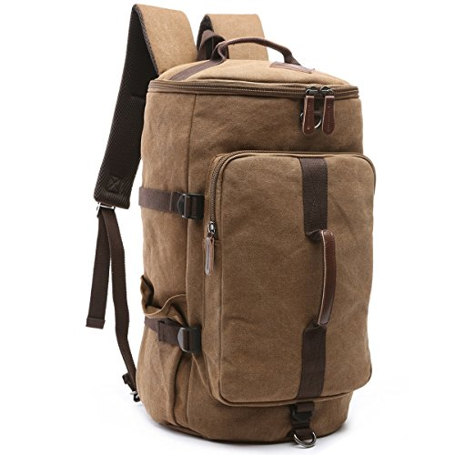 BAOSHA HB-26 3-Ways Vintage Canvas Men Holdall Weekend Travel Duffel Bag Backpack Messenger Shoulder Bags Convertible Travel Hiking Rucksack Weekender Overnight Bag Handbag (Coffee)