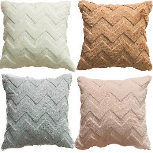 HOSL 4Pack Wave Soft Plush Pillowcases Soft Short Wool Velvet Throw Pillow...