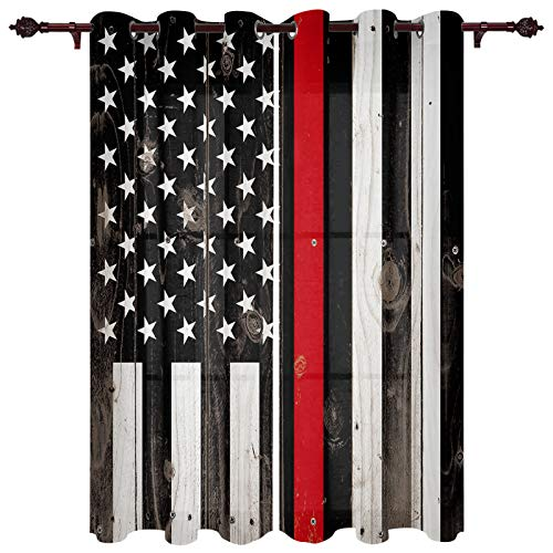 """T&H XHome Draperies & Curtains,Redline American Flag Honoring Firefighters Window Curtain, 2 Panel Curtains for Sliding Glass Door Bedroom Living Room 80"""" W by 84"""" L"""