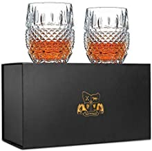 Van Daemon Unique Whiskey Glasses Set of 2. Lead Free Crystal Rocks Tumblers (10oz). 'Crystal Cask' by for Liquor, Bourbon or Scotch. Perfect as a Gift.