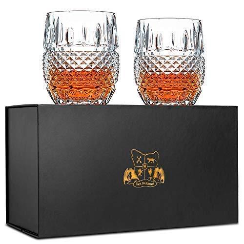 Van Daemon Conjunto exclusivo de 2 vasos de whisky, vasos de cóctel de cristal sin plomo (295 ml), 'Tonel de cristal' para licor, bourbon o whisky escocés, perfecto para regalo