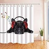 N / A Eine Schwarze Bulldogge hört Musik Duschvorhang schimmelresistenten Stoff Bad magische Dekorationen Bad wasserdichte & schimmelresistente Gardinen A119 180x180cm