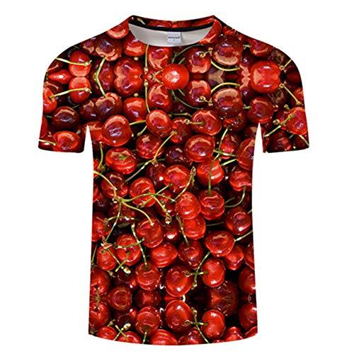 Ywfzzxs T-Shirt 3D Tops Mode-T-Shirts Unterhemden Kurzarm Unisex Neuheit Kostüm HD Anime Druck Kirsche