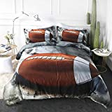 ARIGHTEX Sports Duvet Cover Set Teens Boys Funky American Football Printed Bedding Sets 3 Pieces Kids Vintage Grunge Bedspread Athletic Bedding College Dorm Room Bed Sets (Twin)