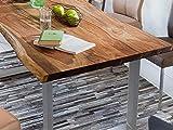 SAM Baumkantentisch 200x100 cm Quarto, nussbaumfarbig, Esszimmertisch aus Akazie, Holz-Tisch mit silber lackierten Beinen - 3