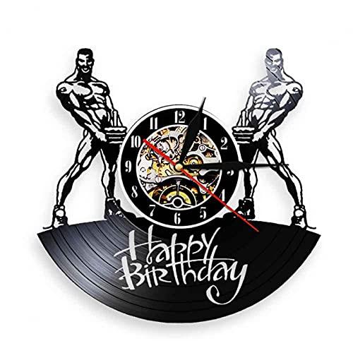 XYVXJ Hombres musculosos con Pasteles de cumpleaños Reloj de Pared con Silueta Reloj de Vinilo de diseño Moderno Relojes de Pared 3D Idea de Regalos de cumpleaños