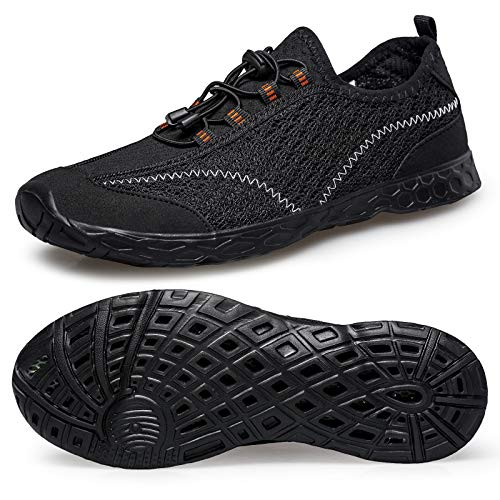 Alibress Breathable Water Shoes for Men Slip On Swim Water Shoes Summer Black Beach Walking Shoes 11 M US