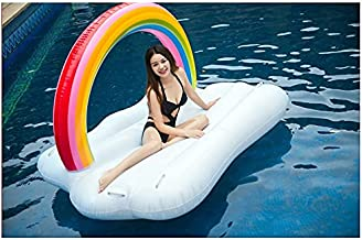 Mopoq Grandes Nubes de Arco Iris Flamenco Unicornio Flotante con Flotante Adulto Inflable flotable Montaje reclinador Adulto natación Anillo Adulto Playa Boda fotografía