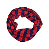 Tickled Pink Women's Game Day Sports Team Apparel Scarf or Wrap, Stripes Infinity Circle, Navy/Red, 10 x 31'