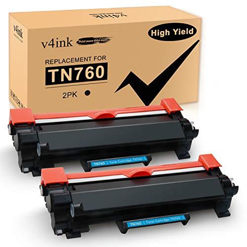 v4ink Compatible TN 760 Toner Cartridge Replacement for Brother TN760 TN730 (2 Pack Black, Design V3) for HL-L2350DW HL-L2390DW HL-L2395DW HL-L2370DW DCP-L2550DW MFC-L2710DW MFC-L2730DW MFC-L2750DW