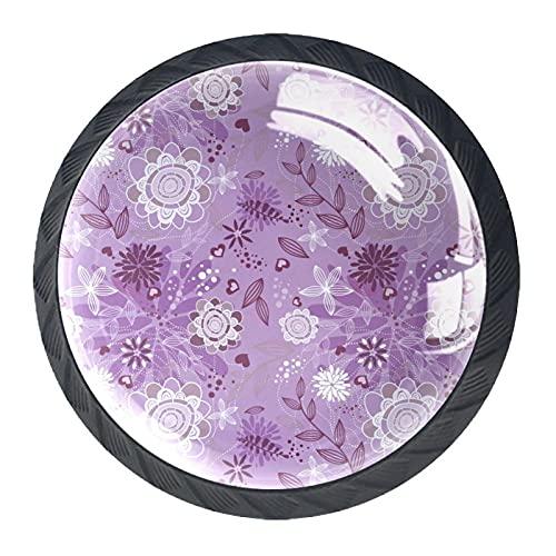 BestIdeas Okrągłe gałki do szuflad 4 opakowania 30 mm uchwyty fioletowe kwiaty liście białe artystyczne nadruki używane do sypialni komoda szafki szafki drzwi kuchenne