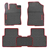 HD-Mart Car Rubber Floor Mat for Honda Civic 10th Generation 2016 2017 2018 2019 2020, Custom Fit Rubber Black and Red Auto Floor Liners Mat All Weather Protection Heavy Duty Odorless
