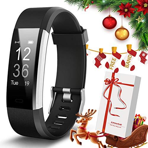 Lintelek Fitness Armband Schrittzähler Fitness Tracker mit Pulsmesser Schlafmonitor Smartwatch Anruf SMS Warnen Sportuhr Wasserdicht IP67 für Herren Damen