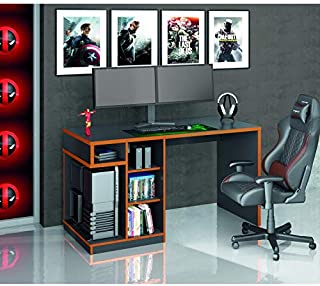 Mesa Gamer IDL XP 500 Siena Móveis Preto/Laranja