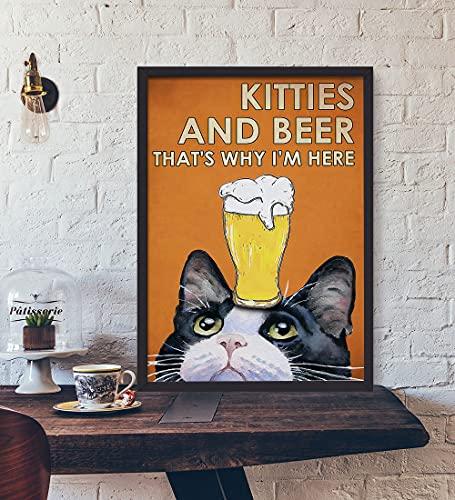 Póster de gato y vino, póster de gato de amor, póster de cerveza de amor, lienzo de beber de gato, regalo para amante de los gatos, póster de lona de regalo sin marco de 50,8 x 76,2 cm