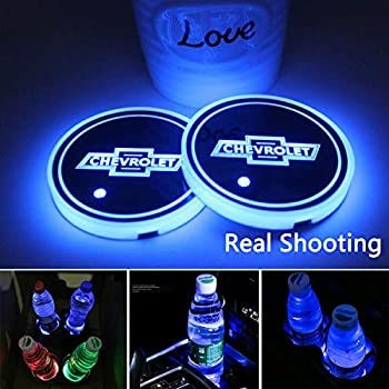 2pcs LED Car Cup Holder Lights for Chevrolet 7 Colors Changing USB Charging Mat Luminescent Cup Pad,Chevrolet Classic Retro Style