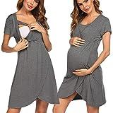 Pinspark Damen Umstandsnachthemd Stillnachthemd Baumwolle Umstandskleidung Nachtwäsche Hausanzug mit Stillfunktion (Grau, M)