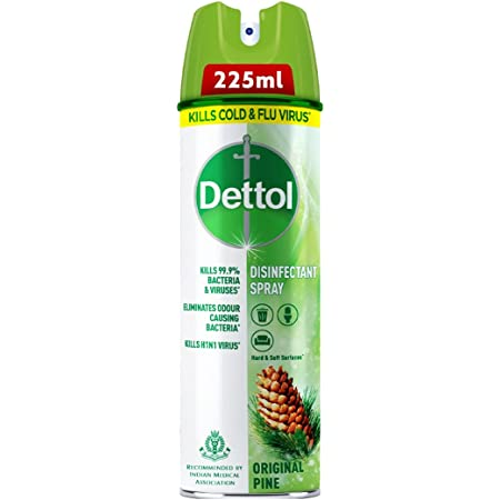 Dettol Disinfectant Sanitizer Spray Bottle | Kills 99.9% Germs & Viruses | Germ Kill on Hard and Soft Surfaces (Original Pine, 225ml)