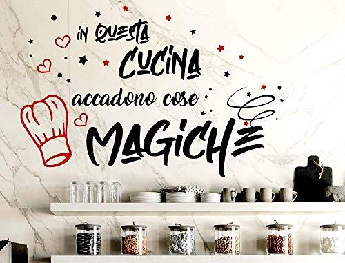 Adesivi murali frasi scritte in italiano decalcomanie da muro cucina sala da pranzo decorazione della parete arte vinile rimovibile 60X40CM