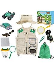 Genround Outdoor Explorer Kit met Vest Kostuum en Hoed, Cadeaus Speelgoed voor 6-10 Jaar Oude Jongens Meisjes Exploratieset, incl. Verrekijker, Vergrootglas, Insectenkijker, Rugzak enz
