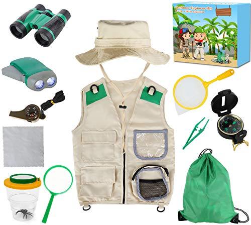 Genround Draussen Forscherset, 3-10 Jahre alt Kinder Adventurer Explorer Set, Rollenspiel für Kinder mit Kleider, Hut, Fernglas, Pfeife, Kompass, Pinzette, Taschenlampe, Lupe, Bug Viewer, Rucksack