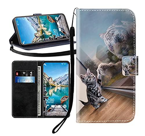 Sunrive Kompatibel mit BQ Aquaris U Plus Hülle,Magnetisch Schaltfläche Ledertasche Schutzhülle Etui Leder Hülle Handyhülle Tasche Schalen Lederhülle MEHRWEG(Tiger Katze B1)