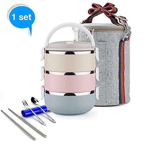 Ieasycan 3strati in acciaio INOX thermos Bento lunch box giapponese cibo scatola per il pranzo isolata termica scuola contenitore W/maniglia