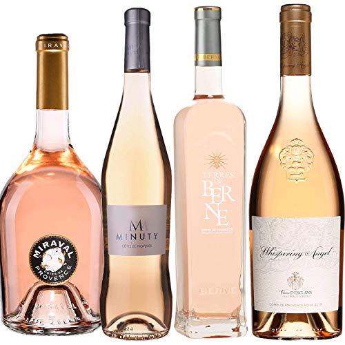Best of Provence - Lot de 4 bouteilles - M de Minuty - Miraval Jolie-Pitt - Terre de Berne - Esclans Whispering Angel - Côtes de Provence Rosé 2019 (4 * 75cl)