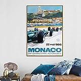 VVSUN Carteles e Impresiones 1966 Grand Prix de Mónaco Classic Motor Racing Art Impresión de Seda Decoración para el hogar 50X70cm 20x28inch Sin Marco