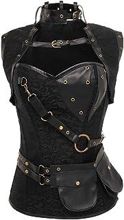 Women's Spiral Steel Boneds Retro Bustier, Overbust Cosplay Corset with Jacket Belt (Color : Black, Size : XXXXXX-Large)