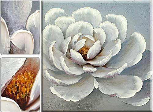 Tableau Decoration Murale Salon. Impression sur Toile. Moderne Affiche décorative pour Chambre, Maison, Bureau. Peinte à la Main avec de la Peinture Acrylique Pieces. (Fleur_7, 55 x 55 cm)