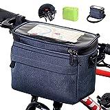 LEMEGO Lenkertasche mit Adapter 5.7L Wasserdichter Fahrradkorb Tasche mit Touchscreen Vorne...
