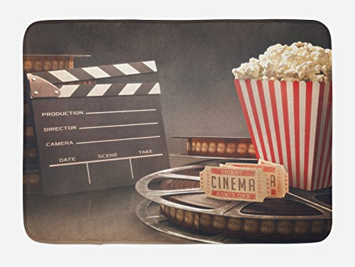 """Ambesonne Movie Theater Bath Mat, Old Fashion Entertainment Objects Related to Cinema Film Reel Motion Picture, Plush Bathroom Decor Mat with Non Slip Backing, 29.5"""" X 17.5"""", Yellow White"""