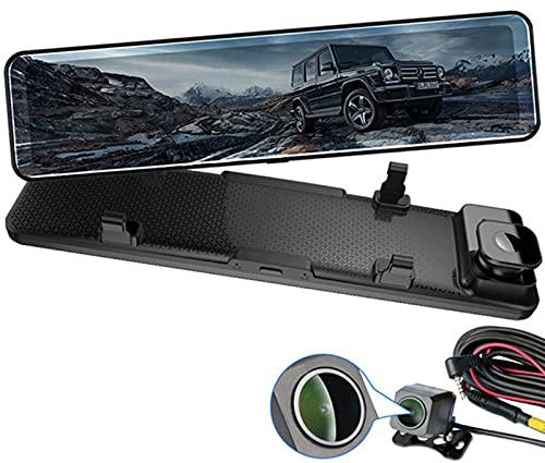 4K Dash Cam Per Auto Trucks 12 pollici Stream Media View Specchietto retrovisore, 2160P Ultra HD Macchina per auto DVR Dual Lens Camera con GPS Wi-Fi APP. Controllo video registratore 24 ore di parche
