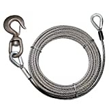 VULCAN Classic Fiber Core Extension Winch Cable with Swivel Hook and Eye - 12,000 lbs. Minimum Breaking Strength - 3/8'' x 75'