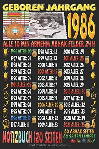 Geboren Jahrgang 1986 Alle 10 Min Abnehm Abhak Felder 24 h: Notizbuch | 120 Seiten, DIN A5 (6x9 Zoll) | Je 60 Seiten Liniert + Zum Abhaken / Kariert | ... | Ideen | Todos | Tagebuch | Weight Loss