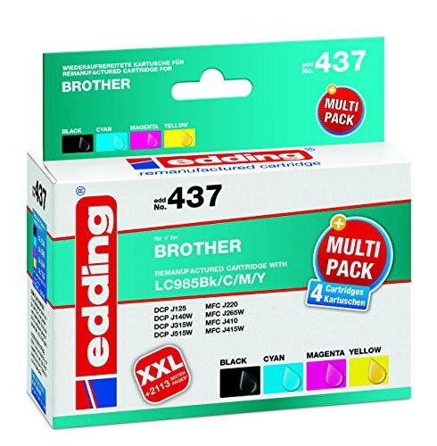 edding Tintenpatrone EDD-437 ersetzt Brother LC985BK/C/M/Y Multipack 4 - Schwarz, Cyan, Magenta, Gelb - 1x 15ml + 3x 9ml