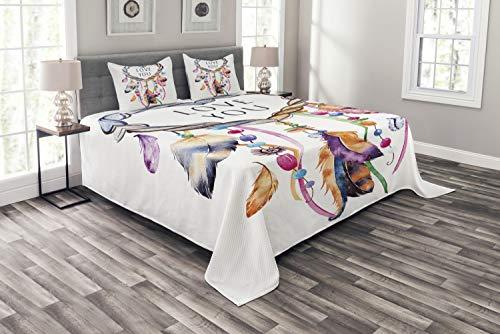 ABAKUHAUS Feder Tagesdecke Set, Traumfänger Boho Stil, Set mit Kissenbezügen Moderne Designs, für Doppelbetten 220 x 220 cm, Multicolor