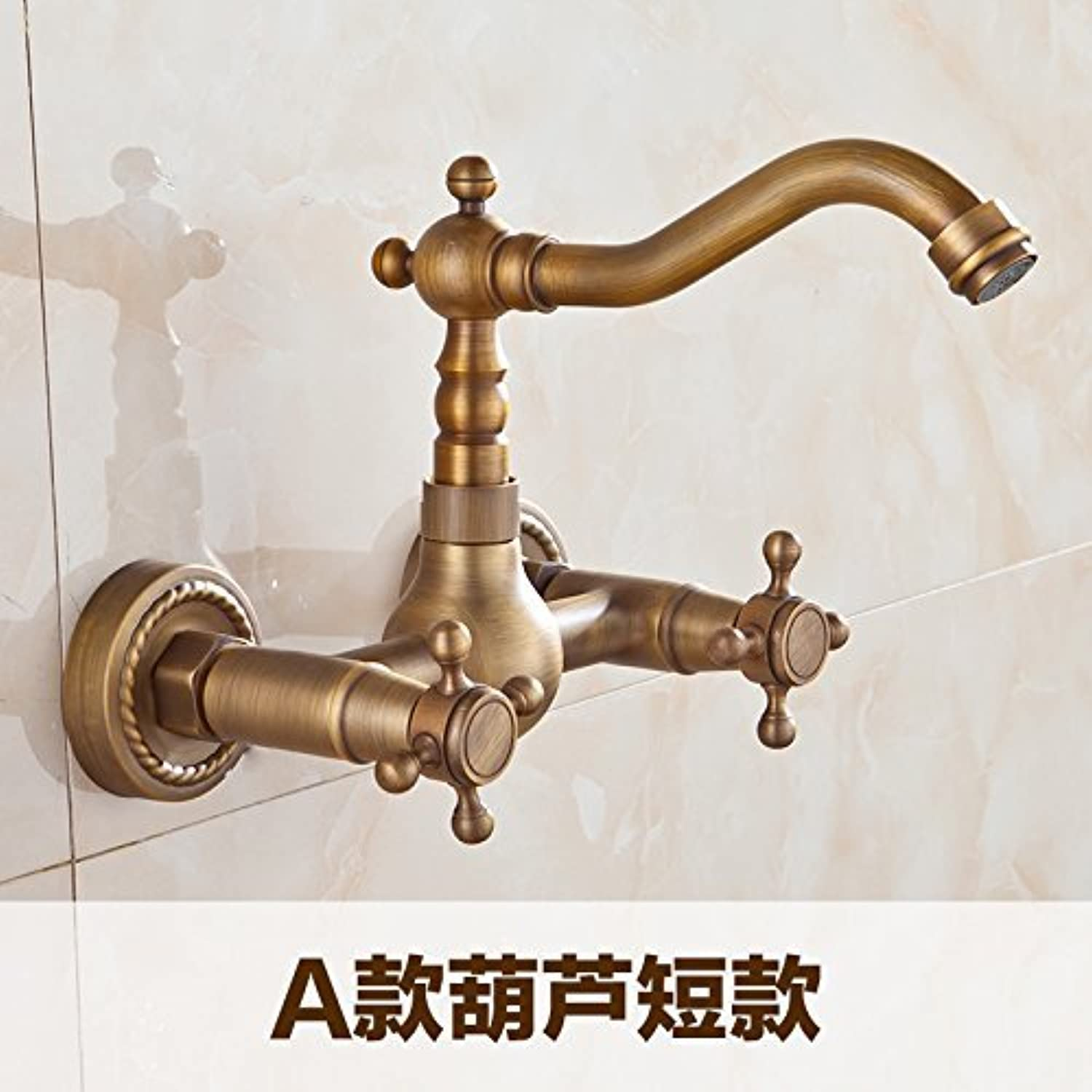 MONFS HOME Antique Sink Mixer Tap Bathroom Hot and Cold Wall Mounted redate Double