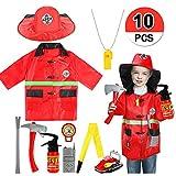 vamei Disfraces de niños Juego de Roles de Jefe de Bomberos Conjunto de Disfraces de Bombero Conjunto de Juegos de simulación Suministros de Fiesta Disfraces de Halloween