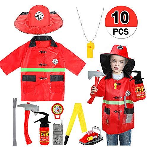 vamei Feuerwehrmann kostüm Kinder Fire Chief Rollenspiel Set Outfit Kostüm Set für Jungen Mädchen Kinder Rollenspiel Party Supplies Halloween Kostüm