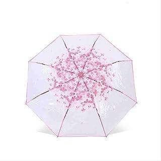 QNBD körsbärsblommor transparent paraply för kreativa rosa blomblad trippel klara kvinnor vindtäta regn paraplyer
